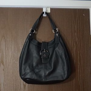 Black and silver coach bag